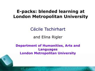 E-packs: blended learning at London Metropolitan University