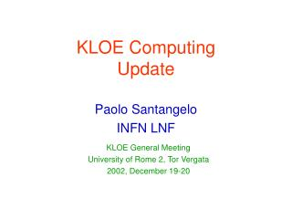 KLOE Computing Update