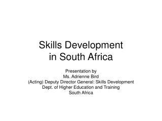 Skills Development  in South Africa