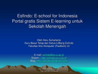 Esfindo: E-school for Indonesia Portal gratis Sistem E-learning untuk  Sekolah Menengah