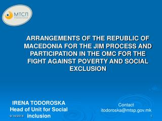 IRENA TODOROSKA Head of Unit for Social inclusion