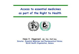 Access to essential medicines  as part of the Right to Health