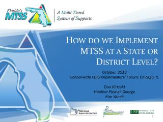 How do we Implement MTSS at a State or District Level?