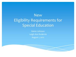 New Eligibility Requirements for Special Education