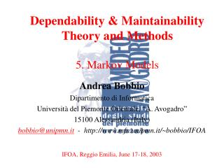 Dependability & Maintainability Theory and Methods  5. Markov Models