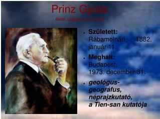 Prinz Gyula élete; utazásai, és művei