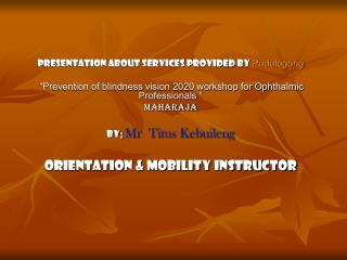 Presentation about services provided by  Pudulogong