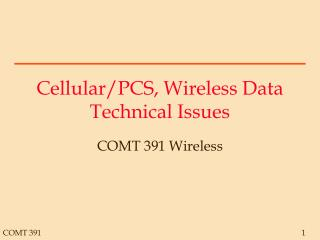 Cellular/PCS, Wireless Data Technical Issues