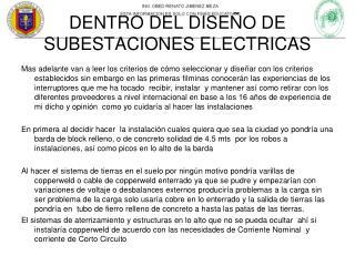 DENTRO DEL DISEÑO DE SUBESTACIONES ELECTRICAS