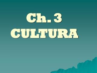 Ch. 3 CULTURA