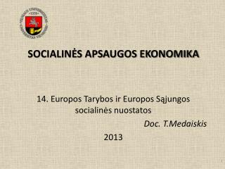 SOCIALINĖS APSAUGOS EKONOMIKA