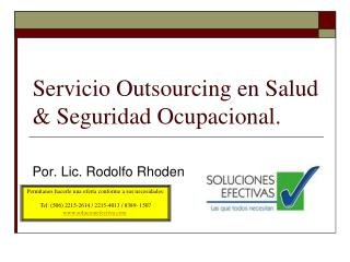 Servicio  Outsourcing  en Salud & Seguridad Ocupacional.