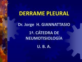 DERRAME PLEURAL Dr. Jorge  H. GIANNATTASIO 1�. C�TEDRA DE NEUMOTISIOLOG�A U. B. A.