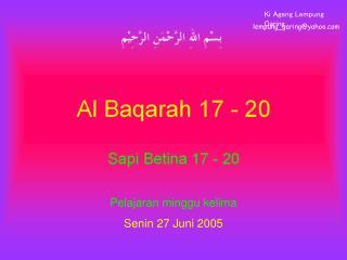 Pelajaran minggu kelima Senin 27 Juni 2005