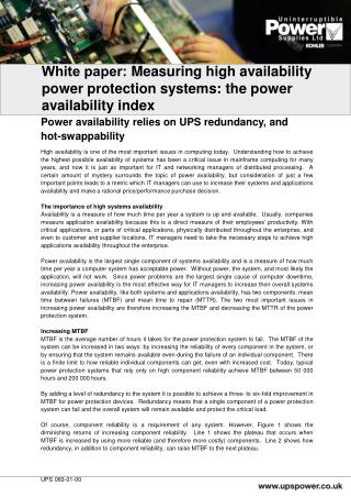 White paper:  Measuring high availability power protection systems: the power availability index