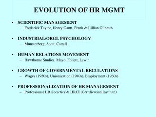 EVOLUTION OF HR MGMT