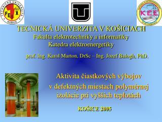 TECNICKÁ UNIVERZITA V KOŠICIACH Fakulta elektrotechniky a informatiky Katedra elektroenergetiky