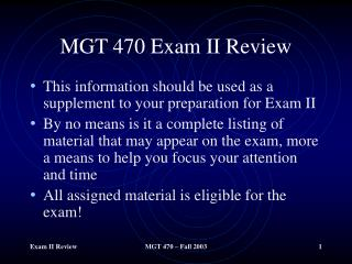 MGT 470 Exam II Review