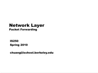 Network Layer Packet Forwarding