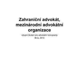 Zahraniční advokát, mezinárodní advokátní organizace