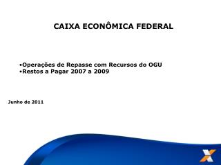 CAIXA ECONÔMICA FEDERAL Operações de Repasse com Recursos do OGU Restos a Pagar 2007 a 2009