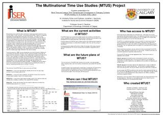 The Multinational Time Use Studies (MTUS) Project A poster presentation for: