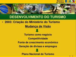 2003: Criação do Ministério do Turismo Mudança de Visão Turismo como negócio Competitividade