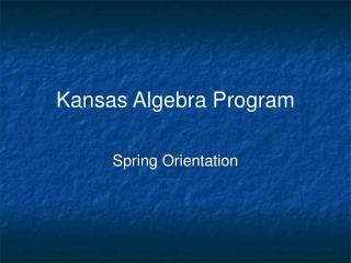 Kansas Algebra Program
