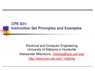 CPE 631:  Instruction Set Principles and Examples