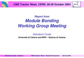 Report from Module Bonding Working Group Meeting