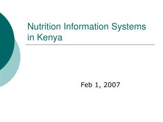 Nutrition Information Systems in Kenya