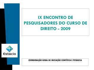 COORDENAÇÃO GERAL DE INICIAÇÃO CIENTÍFICA E PESQUISA
