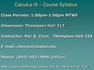 Calculus III – Course Syllabus