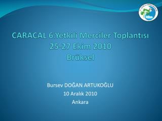 CARACAL 6.Yetkili Merciler Toplantısı 25-27 Ekim 2010 Brüksel