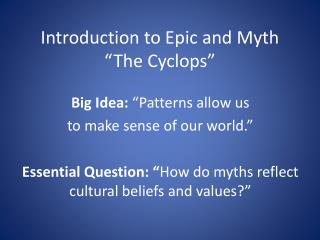 """Introduction to Epic and Myth """"The Cyclops"""""""