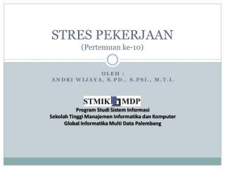 STRES PEKERJAAN ( Pertemuan  ke- 10 )