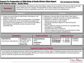 Support for Preparation of 2006 State of South African Cities Report