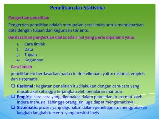 Penelitian dan Statistika