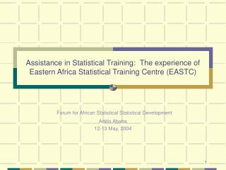 Forum for African Statistical Statistical Development Addis Ababa 12-13 May, 2004