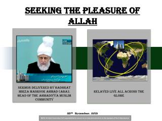 Seeking the pleasure of Allah