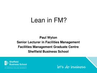 Lean in FM?
