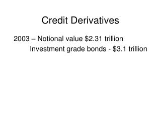 Credit Derivatives