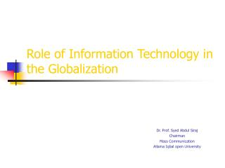 Role of Information Technology in the Globalization