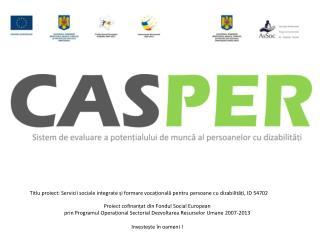 Proiect cofinanțat din Fondul Social European