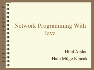 Network Programming With Java