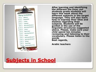 Subjects in School