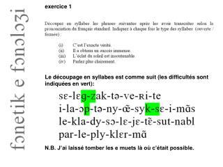 Le découpage en syllabes est comme suit (les difficultés sont indiquées en vert):