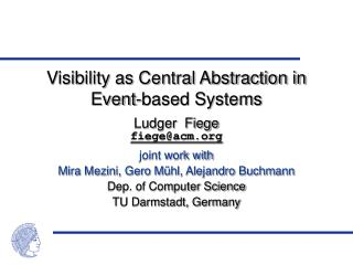 Visibility as Central Abstraction in Event-based Systems