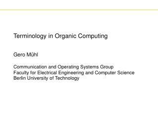 Terminology in Organic Computing