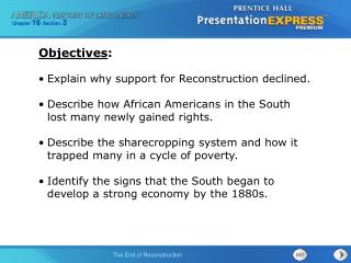 Explain why support for Reconstruction declined.